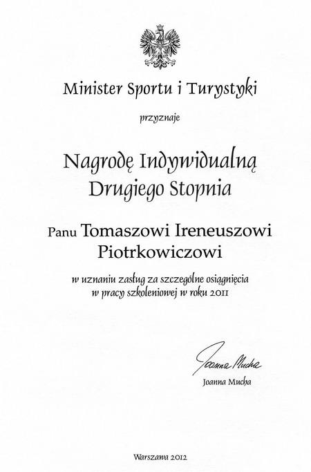 nagroda minister sportu praca trenerska shihan Piotrkowicz