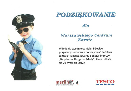 dyplom Warszawskie Centrum Karate od Tesco